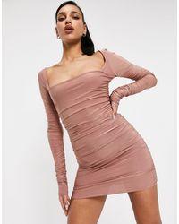 Club L London Vestido corto color do fruncido con escote cuadrado london - Rojo
