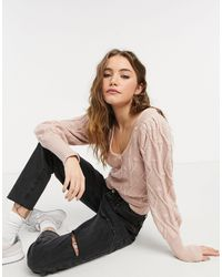 Abercrombie & Fitch Cable Knit Boat Neck Jumper - Pink