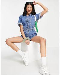 Pull&Bear Denim Playsuit With Elasticated Waist - Blue