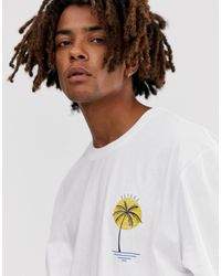 Brooklyn Supply Co. Extreme Relaxed T-shirt With Palm Print - White