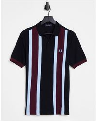Fred Perry - Polo a righe verticali nera/bordeaux - Lyst