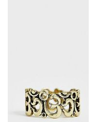 Reclaimed (vintage) Inspired Om Style Band Ring In Burnished Gold Exclusive To Asos - Metallic