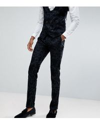 Noose And Monkey - Tall Super Skinny Suit Trousers In Flocking - Lyst