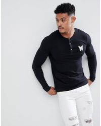 Good For Nothing - Muscle Long Sleeve T-shirt In Black With Buttons - Lyst