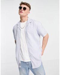 Threadbare Short Sleeve Linen Mix Shirt - Blue