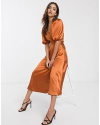 ASOS - Satin Wrap Midi Dress With Puff Sleeves-red - Lyst