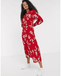 New Look Long Sleeved Floral Dress - Red