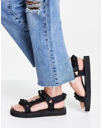 Glamorous Sporty Sandals With Pearl Detail - Black