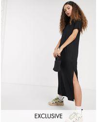 Monki Isabella Jersey Midi T-shirt Dress With Side Split - Black