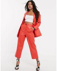 ASOS Pantalon droit taille haute en cuir - Rouge