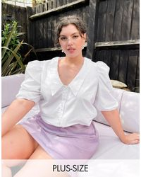 Simply Be Blusa blanca con cuello bordado - Blanco