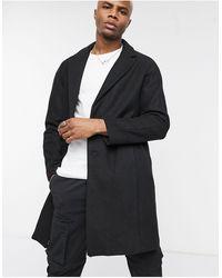 Bershka Черное Пальто С Добавлением Шерсти -черный