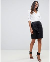 Y.A.S - Ruched Detail Leather Mini Skirt - Lyst
