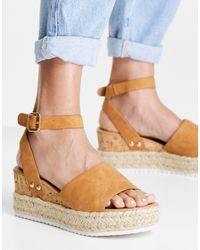 Glamorous Sandali flatform stile espadrilles color cuoio - Marrone