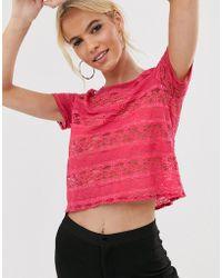 Vesper - Short Sleeve Lace Top - Lyst