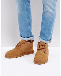 UGG Neumel Suede Lace Up Short Boots-neutral - Natural