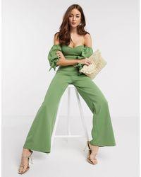 True Violet Зеленый Комбинезон С Открытыми Плечами И Пышными Рукавами