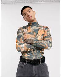 Jaded London Abstract Renaissance Print Ribbed Long Sleeve T-shirt With High Neck - Black