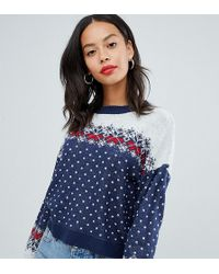 beaf98e726d Asos Design Tall Cropped Christmas Sweater In Fairisle - Blue