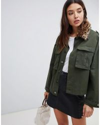 Blank NYC - Utility Jacket With Leopard Print Collar - Lyst