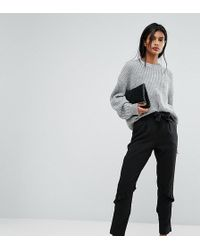 Vila - Tailored Tie Waist Frill Trousers - Lyst