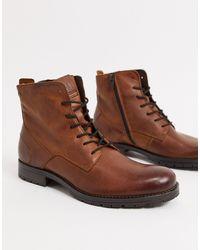 Jack & Jones Коричневые Кожаные Ботинки На Шнуровке -коричневый
