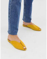 ASOS Lido Peep Toe Ballet Flats - Yellow