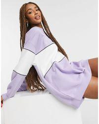 Pull&Bear Stripe Sweat Dress - Purple