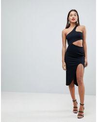 ASOS - Asymmetrische Midi-jurk Met Uitsnijding Opzij - Lyst