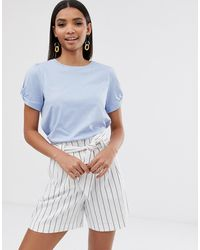 River Island Knot Sleeve T-shirt In Blue