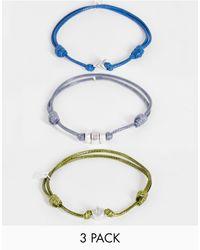 Icon Brand Set Van 3 Verstelbare Touw-armbandjes - Blauw