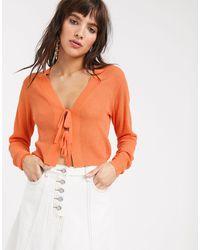 Lost Ink Cardigan With Tie Front - Orange