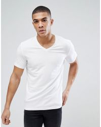 Esprit - Organic Muscle Fit V Neck T-shirt In White - Lyst
