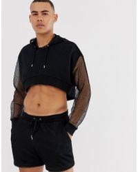 ASOS Hoodie oversize court avec capuche et manches en tulle - Noir (ensemble