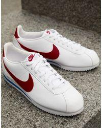 Nike Белые Кожаные Кроссовки С Красной Галочкой Cortez-белый