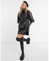 TOPSHOP Faux Leather Oversized Shirt Dress - Black