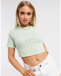 NA-KD Structured Rib Cropped Tee - Green