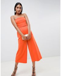 d924deb44fa ASOS Jumpsuit In Scuba With One Shoulder Ruffle in White - Lyst