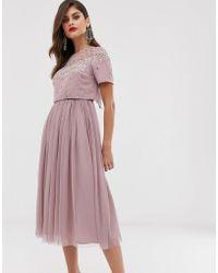 ASOS Midi-jurk Met Versierde Crop Top En Mesh Rok - Roze