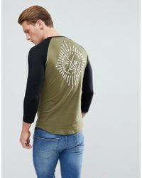 Friend or Faux Starburst Back Print Raglan Long Sleeve Top - Green