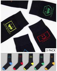 Brave Soul 5 Pack Days Of The Week Socks - Black