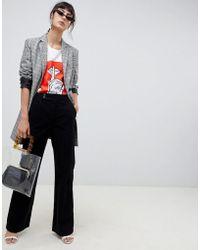ASOS Retro Full Length Flare Jeans In Black Cord