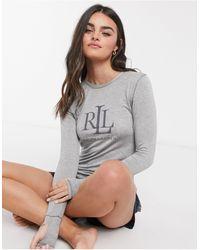 Lauren by Ralph Lauren Lounge Logo Longe Sleeve Top - Gray