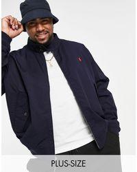 Polo Ralph Lauren - Темно-синяя Куртка Харрингтон Из Саржи С Логотипом Игрока Big & Tall Baracuda-темно-синий - Lyst