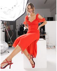 Little Mistress Оранжевое Платье Миди С Рукавами-оборками -оранжевый Цвет - Красный