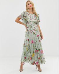 ASOS Bloombox - Midaxi-jurk Met Ruches Op De Mouw - Roze