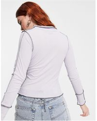 Another Reason Long Sleeve Ribbed Top With Overlocking - Purple