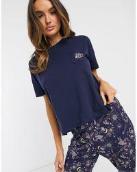 Hunkemöller – Moonchild – Pyjama-Oberteil aus Jersey - Blau