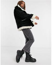 Monki - Черная Вельветовая Куртка С Подкладкой Из Искусственной Овчины Shea-черный - Lyst