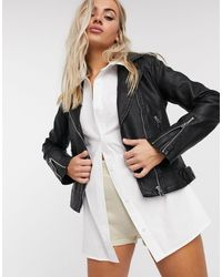 TOPSHOP Faux-leather Biker Jacket - Black
